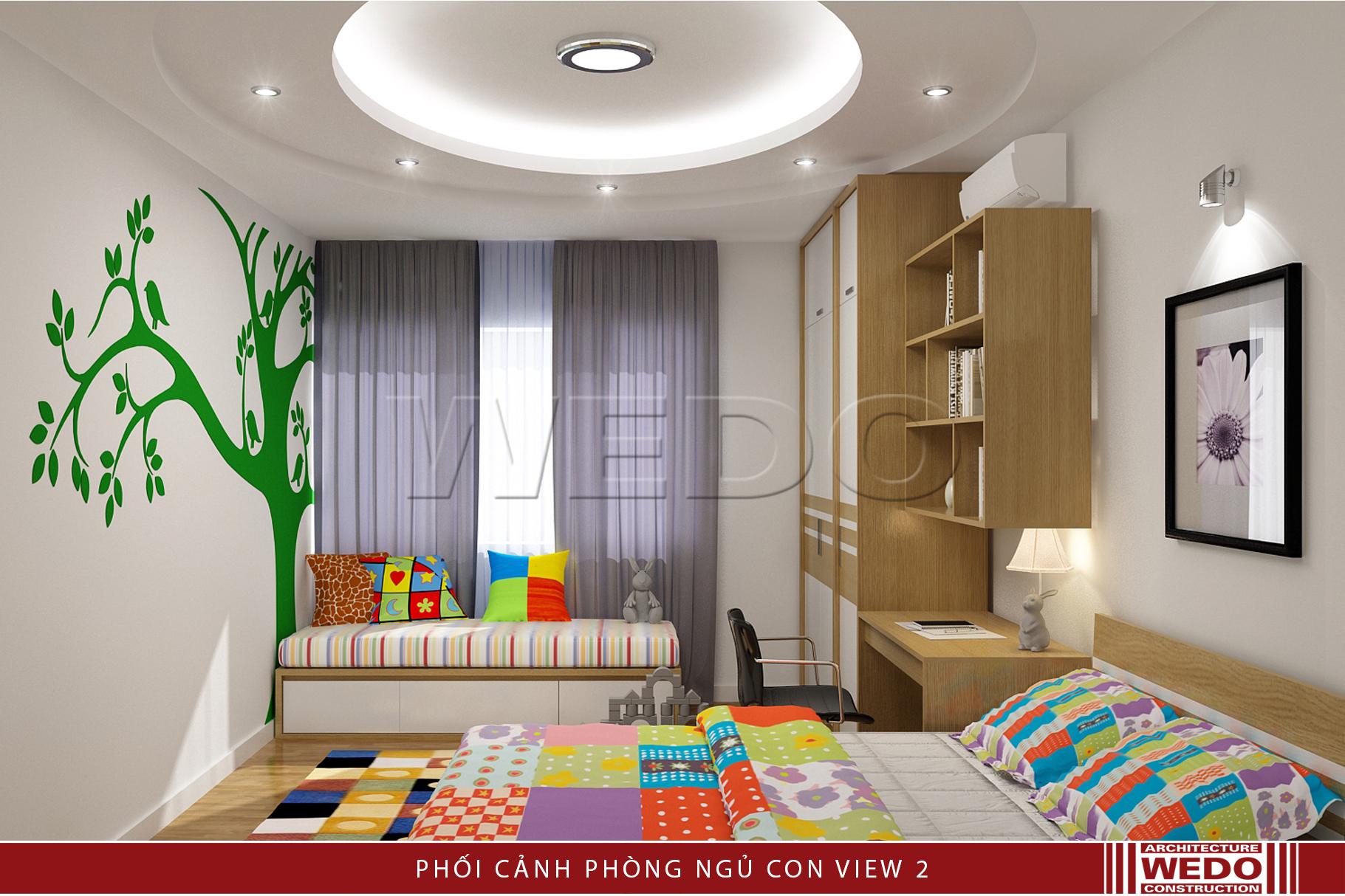 Nội thất phòng ngủ nhỏ chung cư alphanam 47 Vũ Trọng Phụng nhìn ra cửa sổ