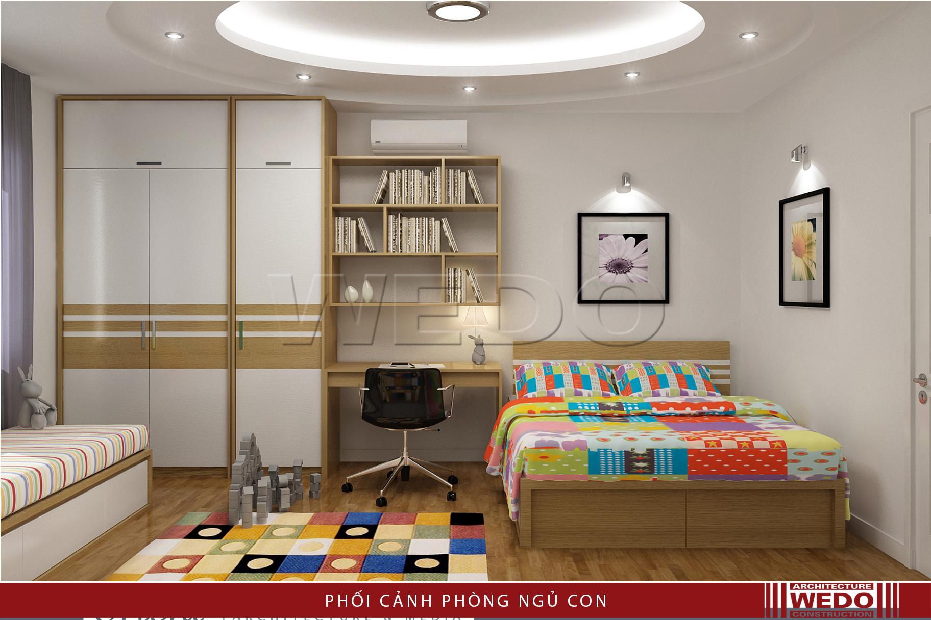 Nội thất phòng ngủ nhỏ chung cư alphanam Vũ Trọng Phụng