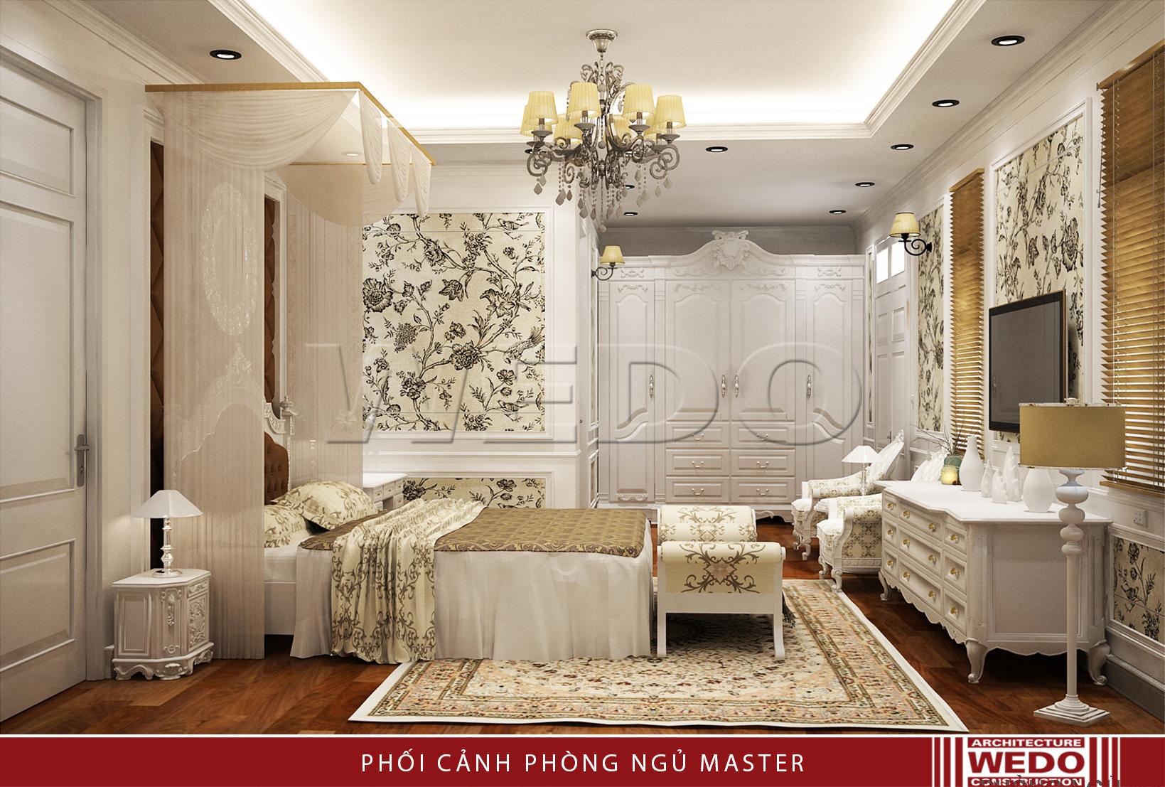 Nội thất phòng ngủ master biệt thự Linh đàm