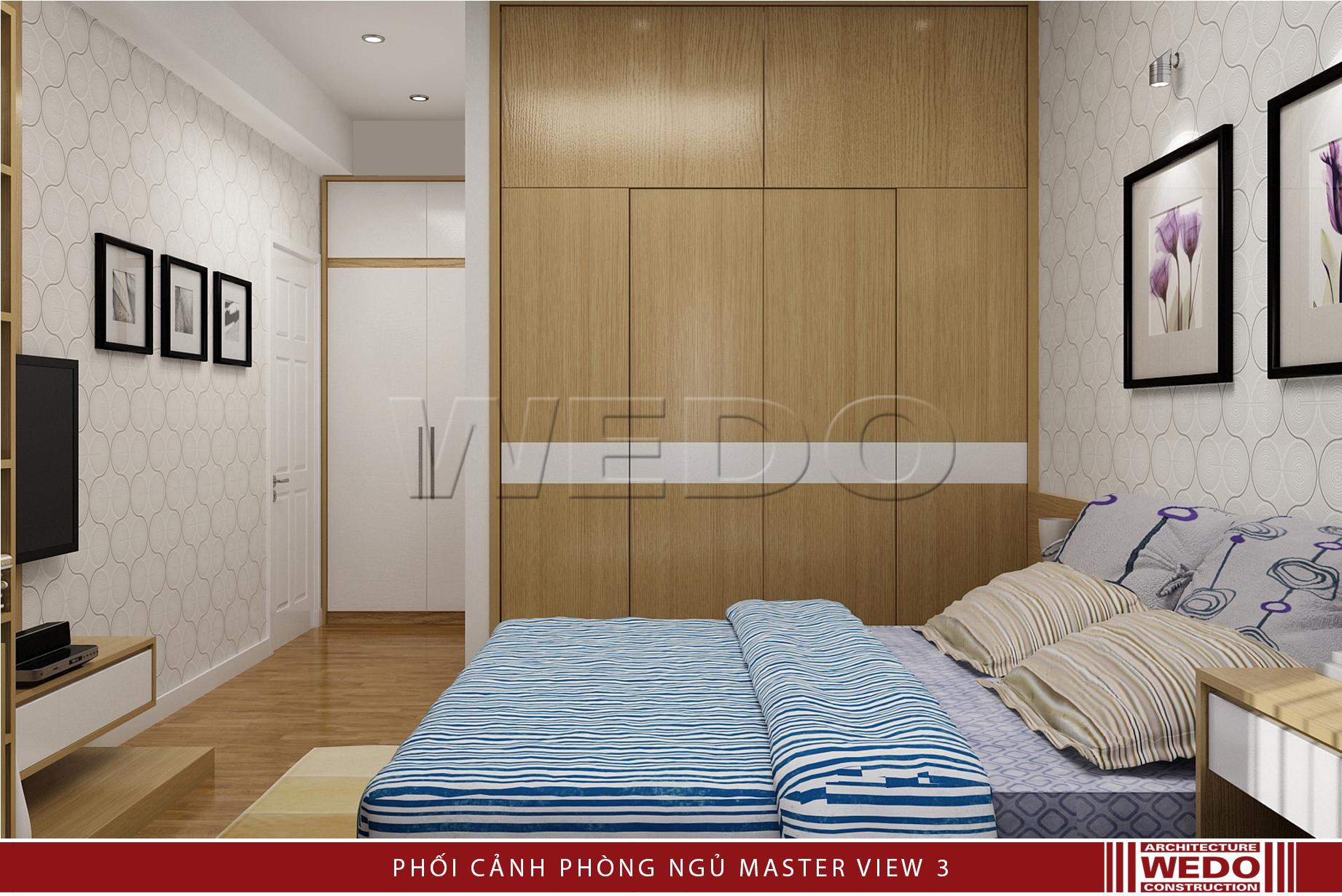 Nội thất phòng ngủ master chung cư Alphanam - hướng nhìn tủ và cửa phòng