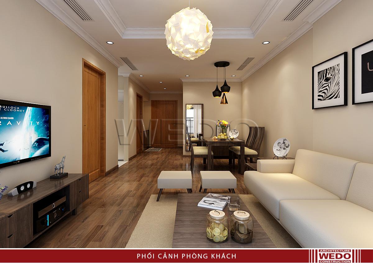 nội thất phòng khách nhìn từ ban công - Vinhomes Nguyễn Chí Thanh
