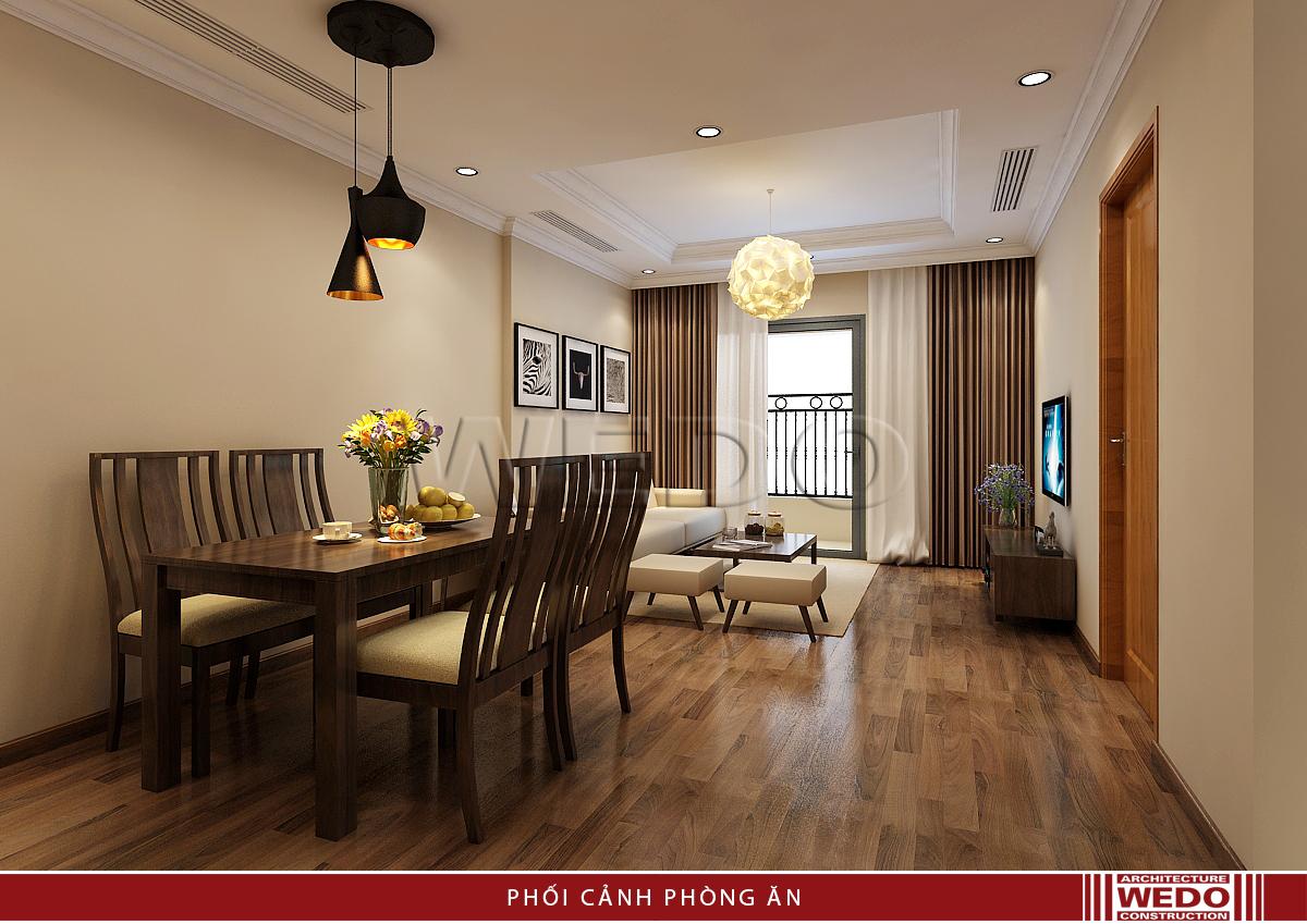 Nội thất đẹp phòng ăn, phòng khách chung cư Vinhomes Nguyễn Chí Thanh