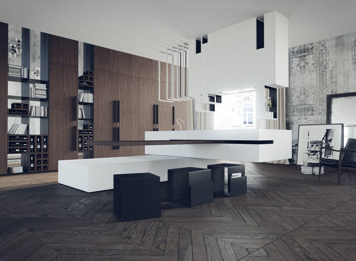 Mẫu nội thất đen & trắng đẹp cho phòng ăn, nhà bếp