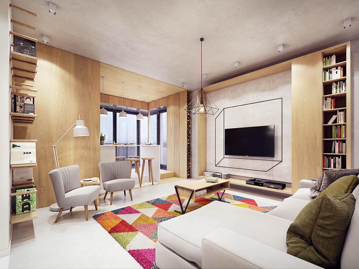 Bữa tiệc màu sắc cho nội thất căn hộ hiện đại và tiện nghi