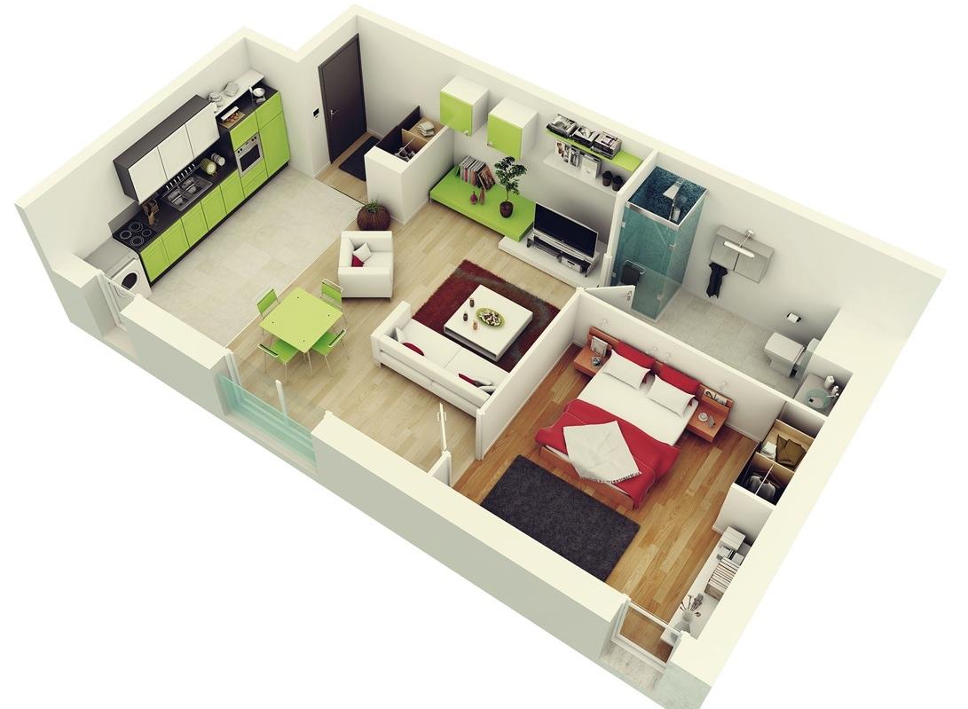 Mẫu thiết kế nội thất chung cư 1 phòng ngủ hiện đại & tiện nghi