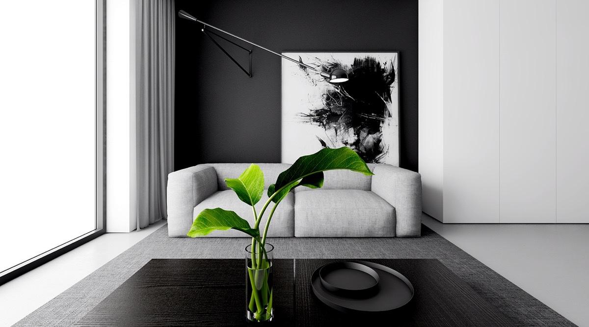30 Mẫu khách kết hợp đen trắng và phòng làm việc đơn sắc đẹp
