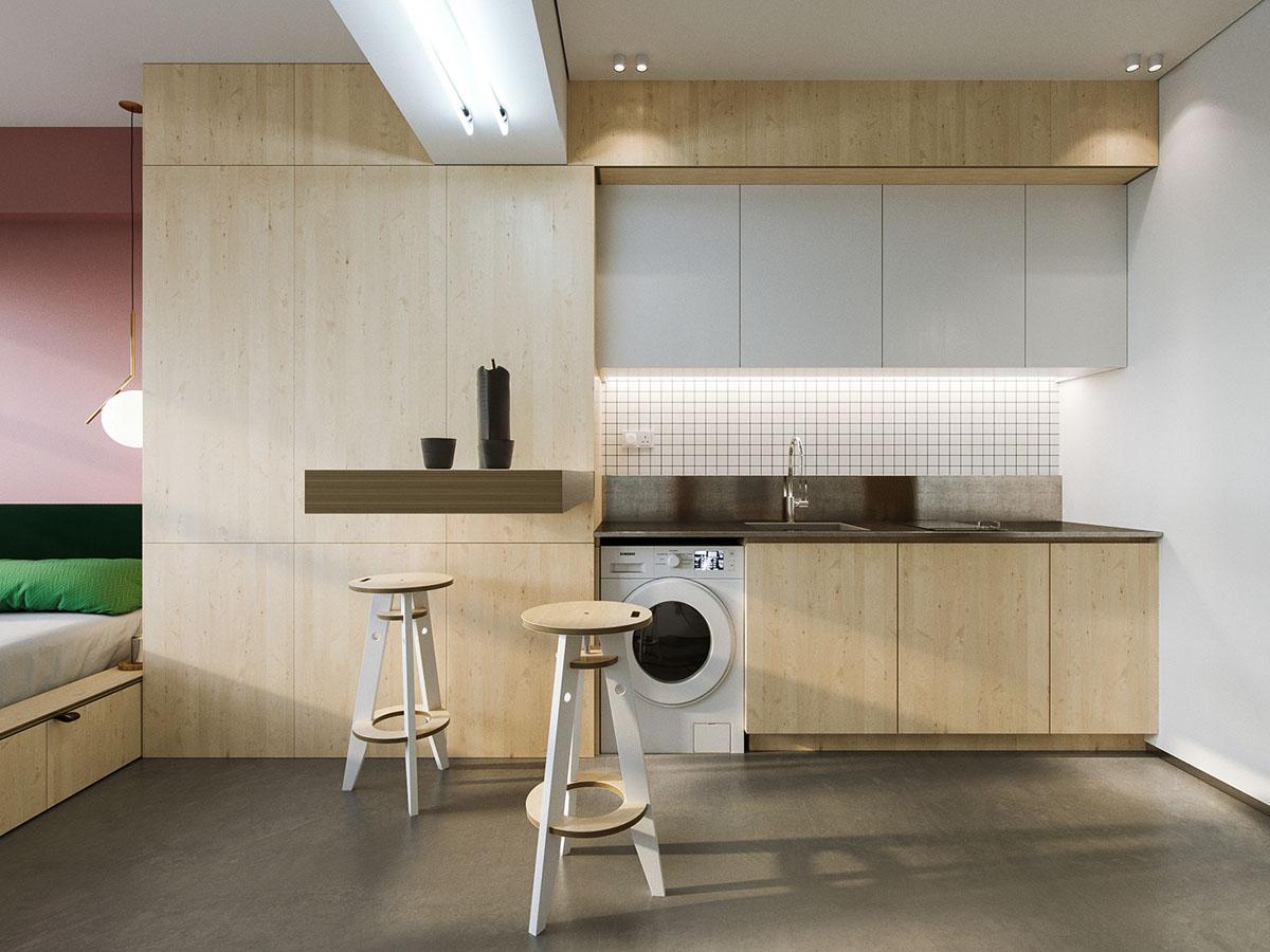 Thiết kế thi công nội thất đẹp, lạ mắt và tiện nghi cho căn hộ 23 m2