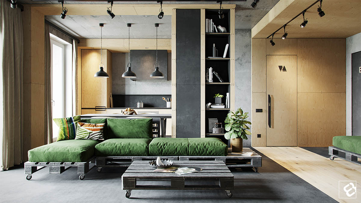 Thiết kế nội thất nhà đẹp với tường bê tông kết hợp gỗ
